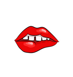 girls open mouth with red lips biting womans vector image