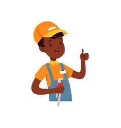 plumber character african american boy in uniform vector image