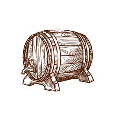 wooden beer barrel sketch icon vector image