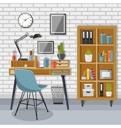 Workplace and shelving unit with gray brick wall vector image