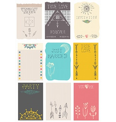 Hand drawn collection of floral cards vector image