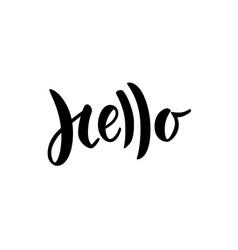 hello hand lettered word modern brush lettering vector image vector image