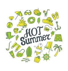 Hot summer green yellow vector