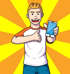 Man with a handphone vector image vector image