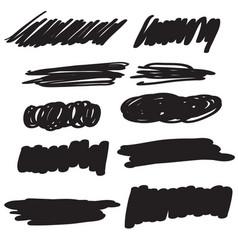 set of black flourish calligraphy vintage doodle vector image