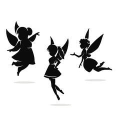 silhouettes of little fairies vector image