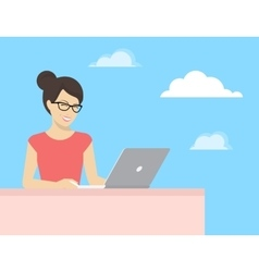 Young woman sitting with laptop and smiling vector image vector image