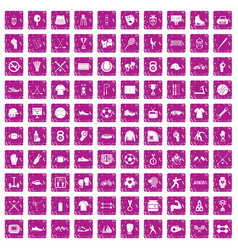 100 athlete icons set grunge pink vector