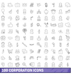 100 corporation icons set outline style vector