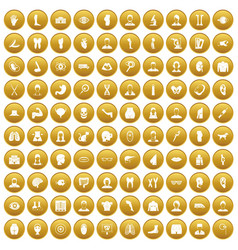 100 organ icons set gold vector