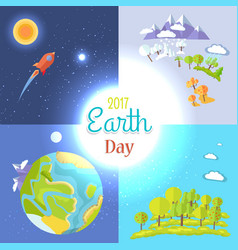 2017 earth day posters set traveling to moon vector image