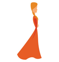 A girl in graceful vintage style long orange gown vector