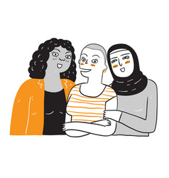 A group of women who are diverse in ethnicity vector