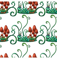 A seamless design with worms in a garden vector image