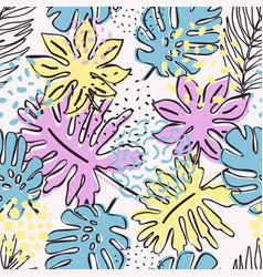 abstract exotic leaves seamless pattern vector image