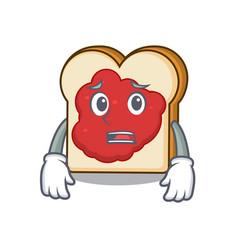 afraid bread with jam mascot cartoon vector image