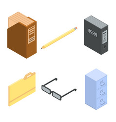 Archive icons set isometric style vector