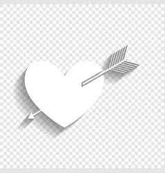 arrow heart sign white icon with soft vector image