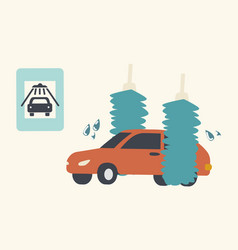 automobile in car wash service with brushes vector image