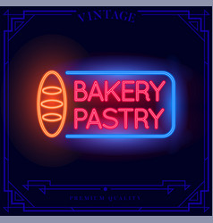 Bakery pastry shop neon light sign vector
