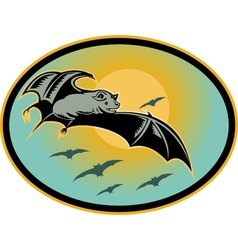 Bat flying with moon in background vector