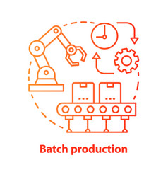 Batch production red concept icon manufacturing vector