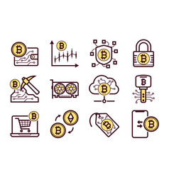 Bitcoin mining icons set vector