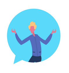 blond man chat bubble character open arms gesture vector image