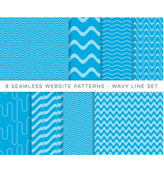 Blue seamless website wavy line patterns vector