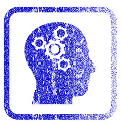 Brain mechanics framed textured icon vector