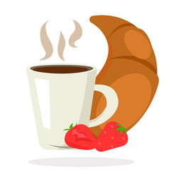 breakfast coffee tea croissant strawberry vector image