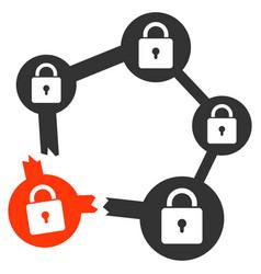 Broken blockchain network icon vector