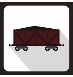 Brown train cargo wagon icon flat style vector
