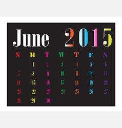 Calendar June 2015 vector image