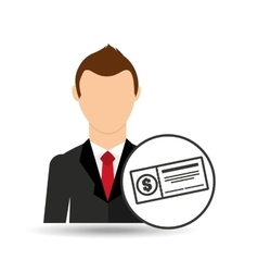 cartoon business man check bank icon graphic vector image