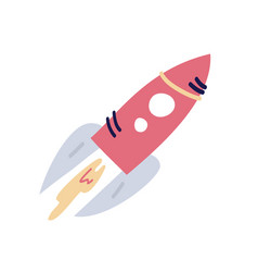 cartoon flat rocket starship flying up flat on vector image