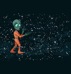 cartoon image funny alien positive vector image