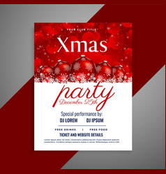 christmas party flyer with red balls and copyspace vector image