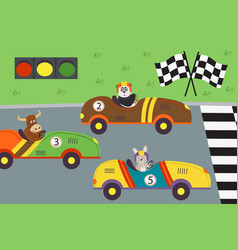 Classic old race cars with animal on races vector