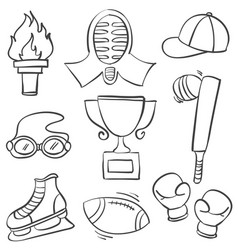 Collection of sport equipment hand draw doodles vector