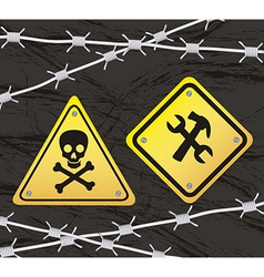 Construction yellow sign with barbed wire over vector