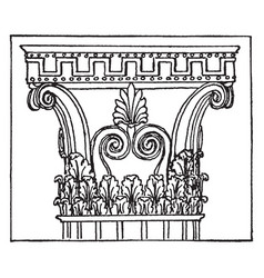 Corinthian capital from bassae vintage engraving vector