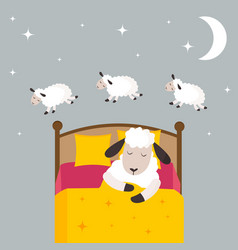 Counting sheep to fall asleep vector