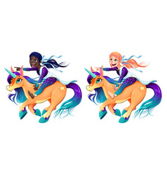 Couple of girls are riding the unicorns vector