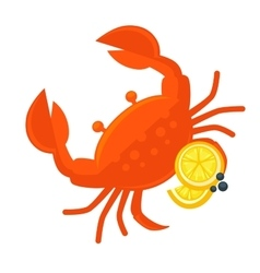 Crab with lemon Fresh seafood vector image