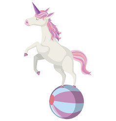 Cute unicorn standing on ball in pastel color vector