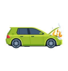 Damaged burning car auto accident purple car vector