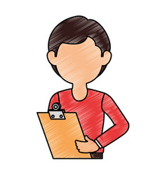 Delivery worker with clipboard avatar character vector
