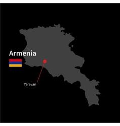 detailed map armenia and capital city yerevan vector image