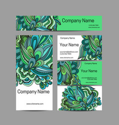 Doodl flower style business card set corporate vector